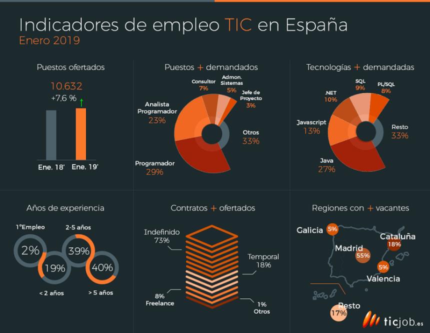 Indicadores del empleo TIC en España #infografia #infographic #empleo