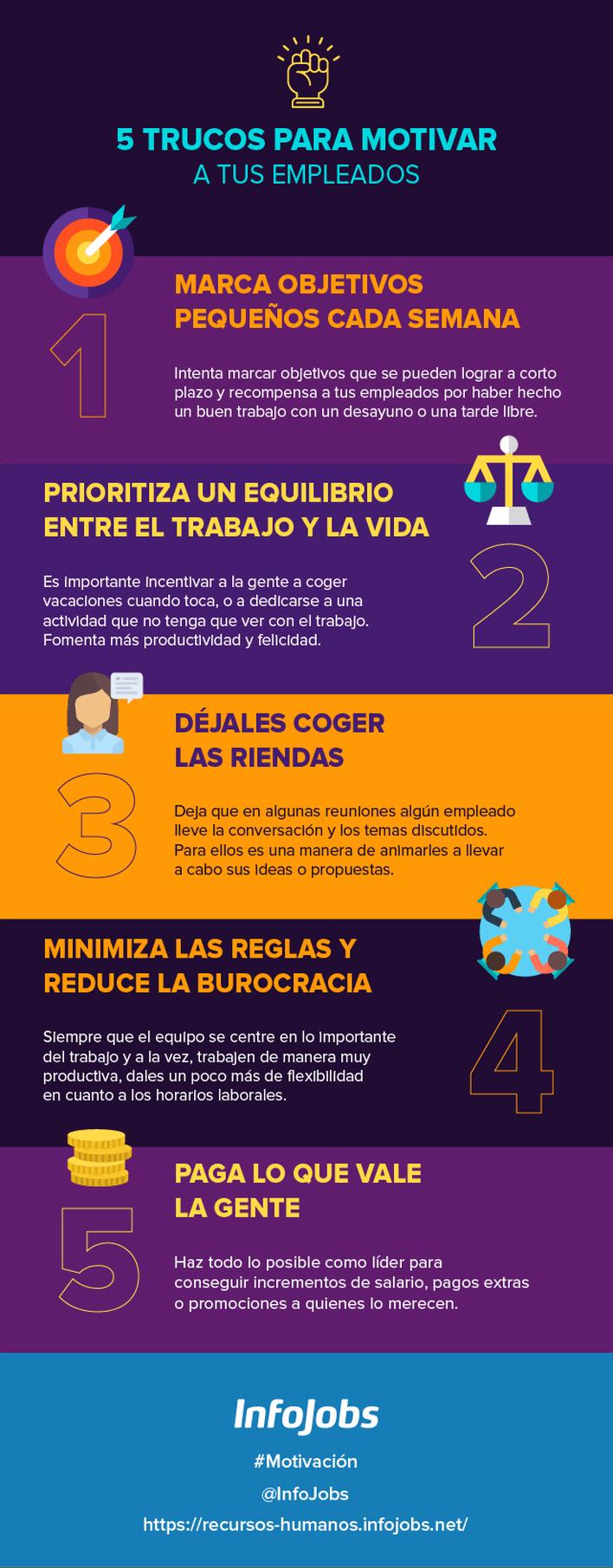 5 Consejos para motivar a tus empleados #infografia #infographic #rrhh