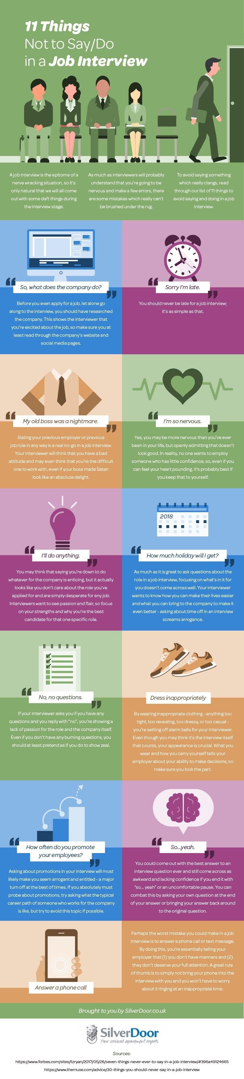 11 cosas que no debes hacer/decir en una entrevista de trabajo #infografia #empleo