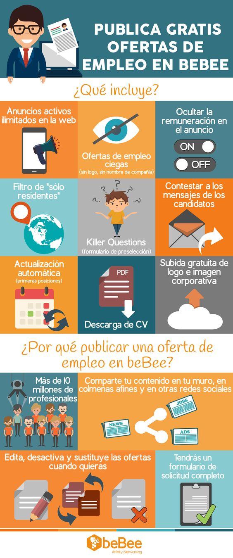 Publica gratis ofertas de trabajo en BeBee #infografia #socialmedia #empleo #rrhh