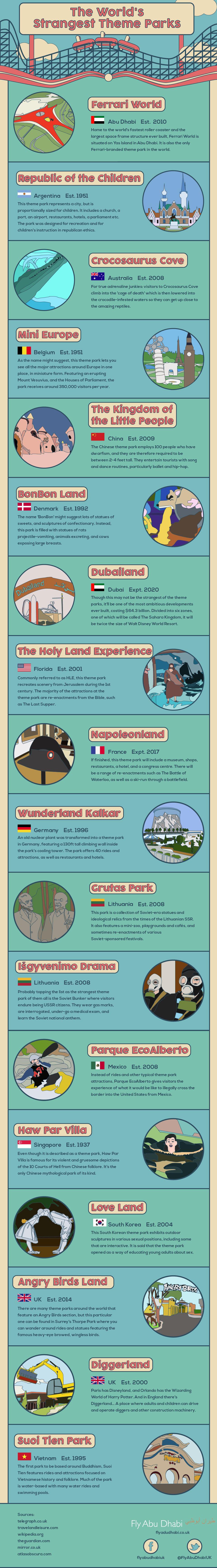 Los Parques Temáticos más extraños del Mundo #infografia #infographic #tourism