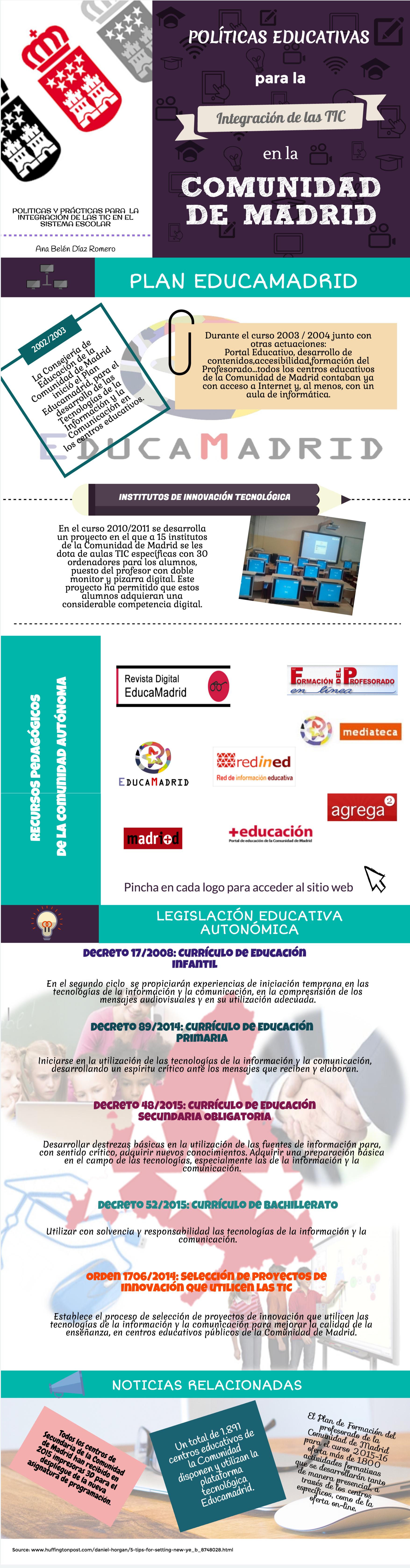 Políticas educativas para integrar las TIC en la Comunidad de Madrid #infografia #education