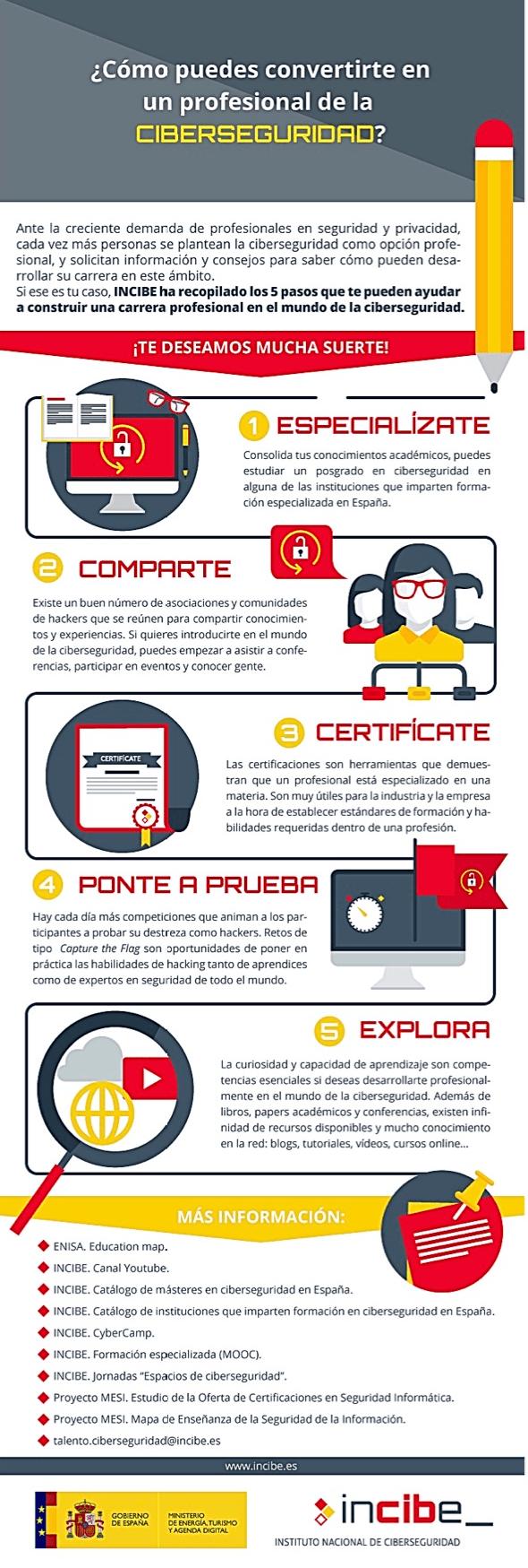 Cómo convertirte en un profesional de la Ciberseguridad #infografia #infographic