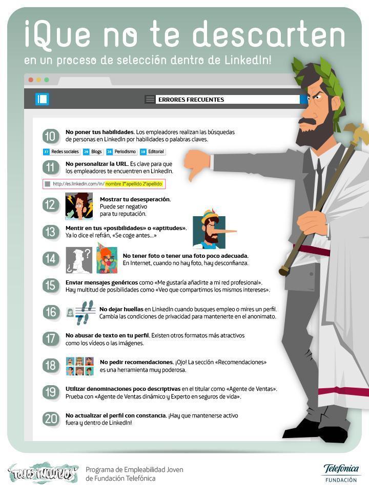 Qué no te descarten en un proceso de selección en LinkedIn #infografia #socialmedia #empleo