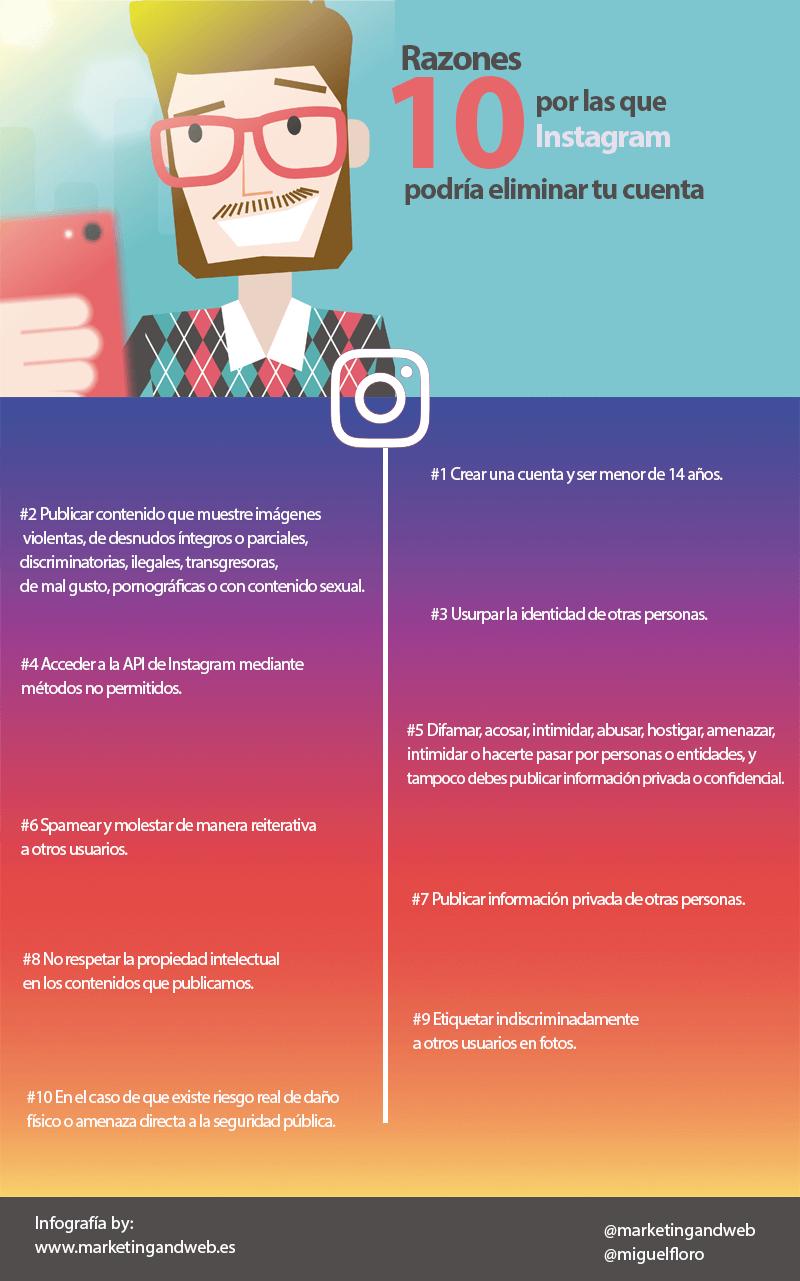 10 razones por las que Instagram podría eliminar tu cuenta #infografia #socialmedia