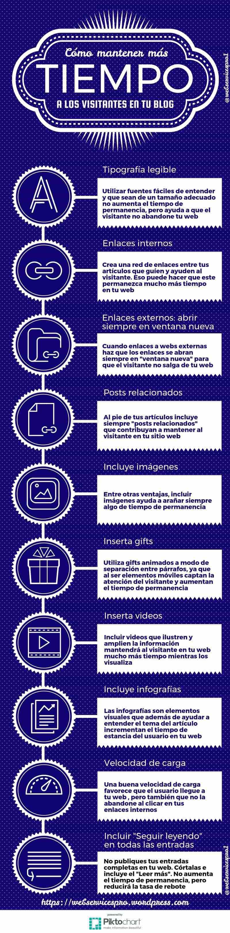 Cómo mantener más tiempo a los visitantes de tu Blog #infografia #infographic #socialmedia