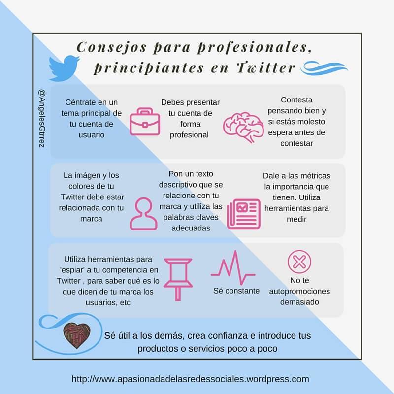 Consejos para profesionales principiantes en Twitter #infografia #infographic #socialmedia