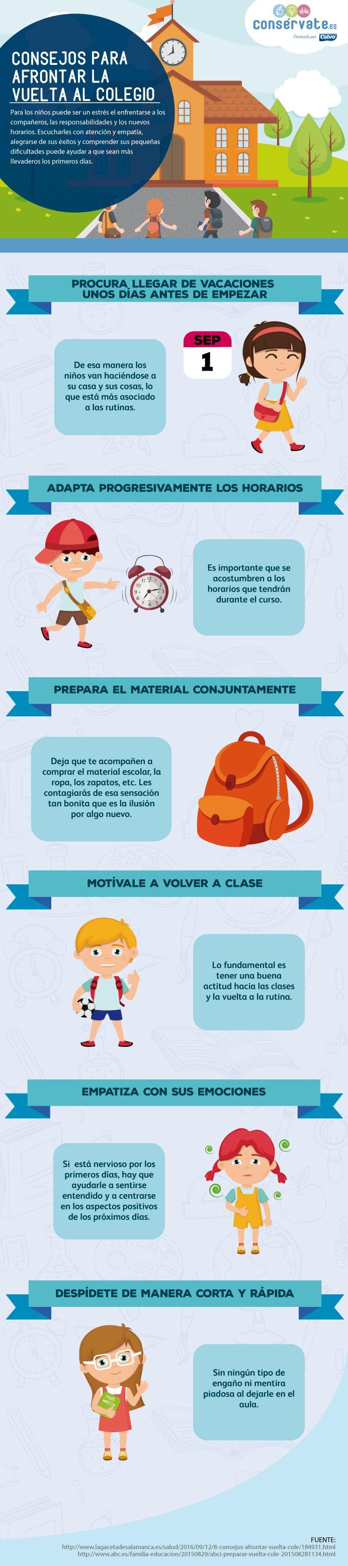 "Consejos para afrontar la ""vuelta al cole"" #infografia #infographic #education"