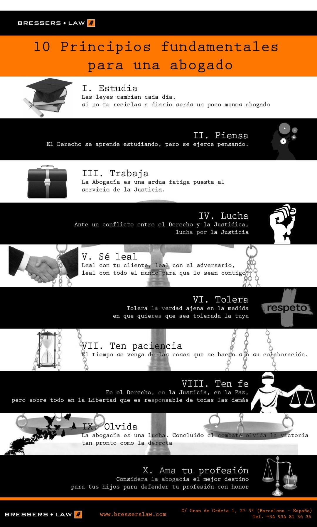 10 principios fundamentales para un abogado #infografia #infographic