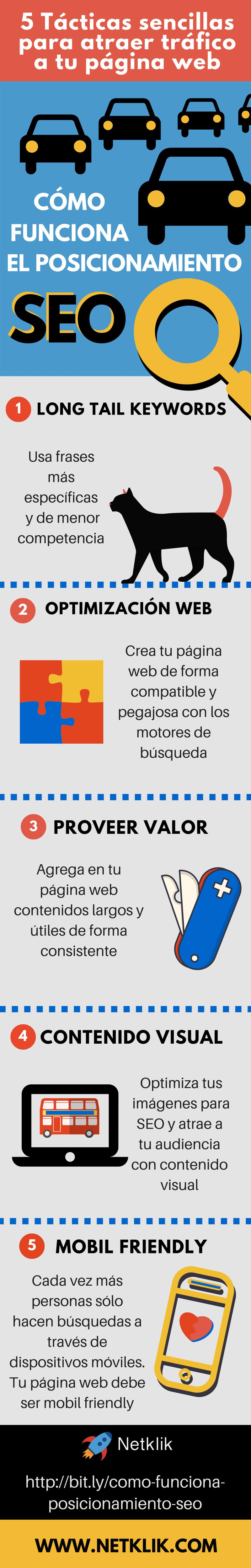 5 tácticas sencillas para atraer tráfico a tu web #infografia #infographic #seo
