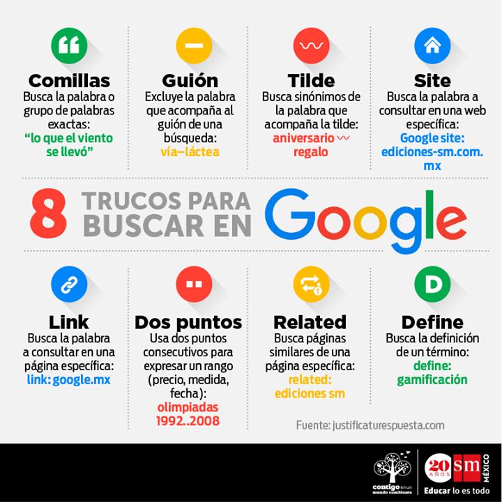 8 trucos para buscar en Google #infografia #infographic