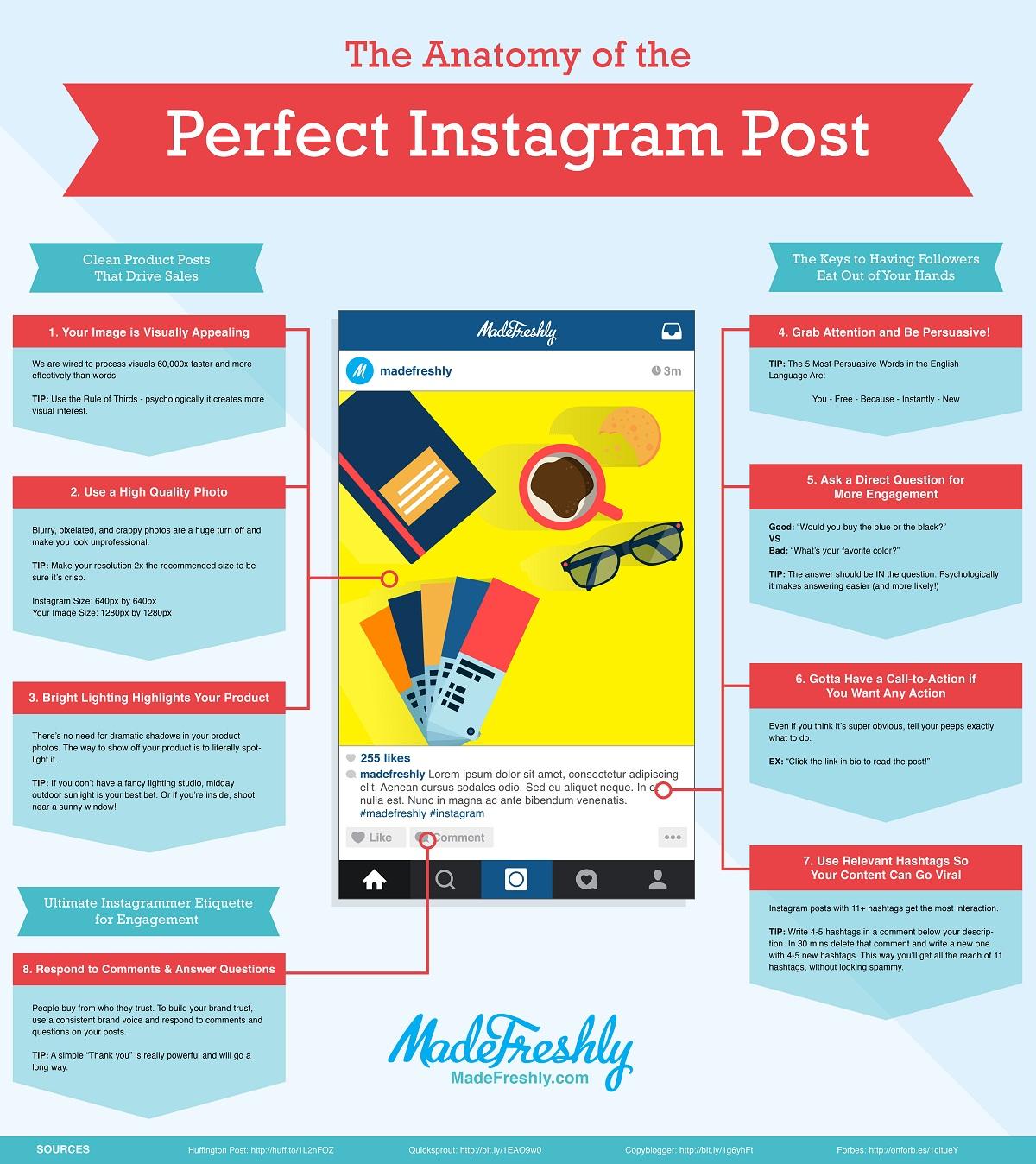 Anatomía del post perfecto en Instagram #infografia #infographic #socialmedia
