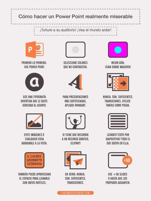 Cómo hacer un PowerPoint realmente miserable #infografia #infographic #humor